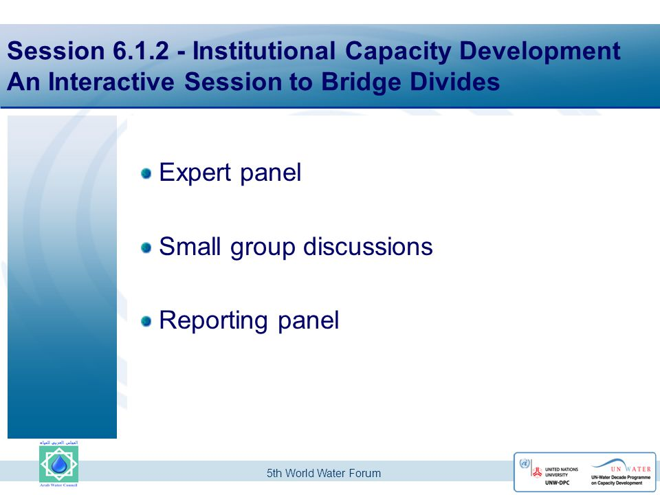 5th World Water Forum Session 6.1.2 - Institutional Capacity Development An Interactive Session to Bridge Divides Expert panel Small group discussions Reporting panel