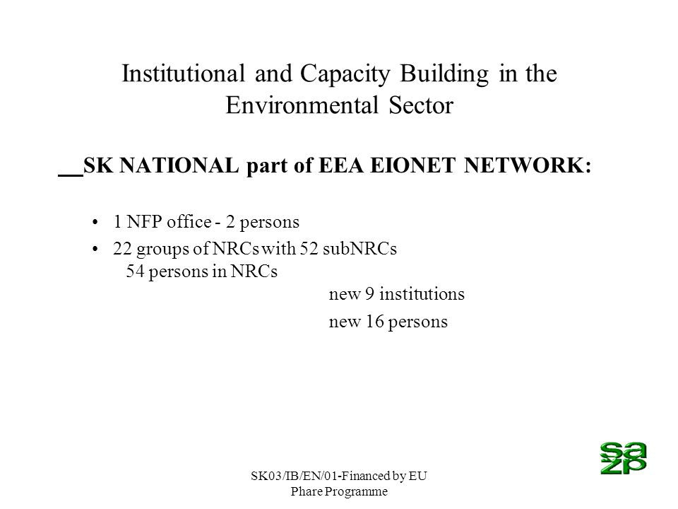 SK03/IB/EN/01-Financed by EU Phare Programme Institutional and Capacity Building in the Environmental Sector SK NATIONAL part of EEA EIONET NETWORK: 1 NFP office - 2 persons 22 groups of NRCswith 52 subNRCs 54 persons in NRCs new 9 institutions new 16 persons