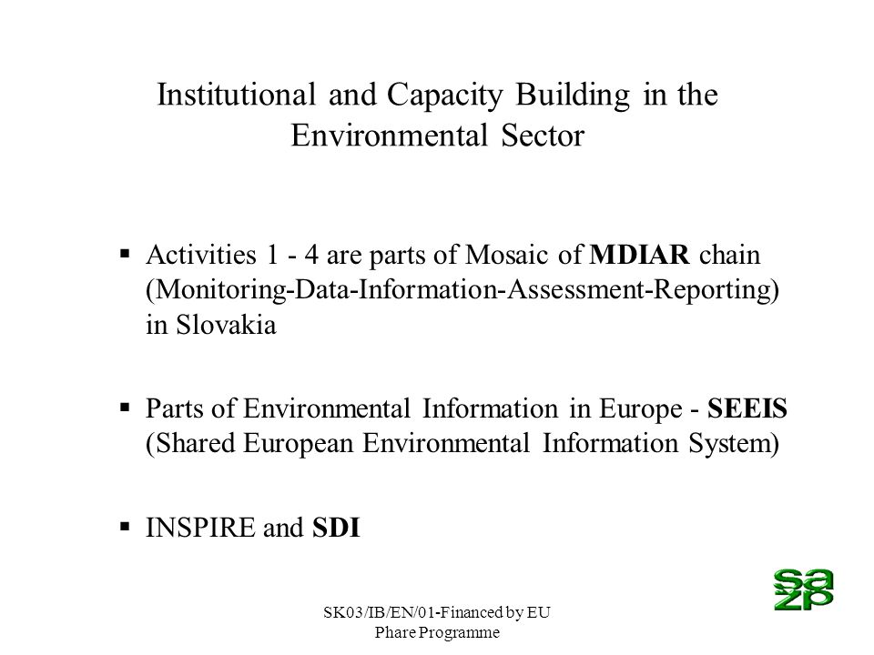 SK03/IB/EN/01-Financed by EU Phare Programme Institutional and Capacity Building in the Environmental Sector Activities 1 - 4 are parts of Mosaic of MDIAR chain (Monitoring-Data-Information-Assessment-Reporting) in Slovakia Parts of Environmental Information in Europe - SEEIS (Shared European Environmental Information System) INSPIRE and SDI