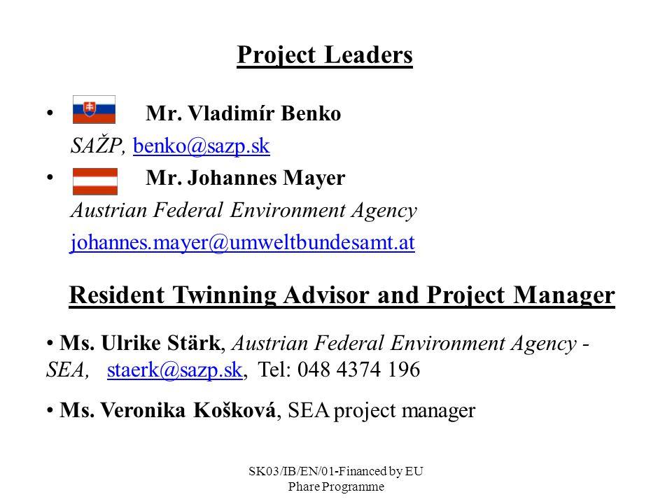SK03/IB/EN/01-Financed by EU Phare Programme Project Leaders Mr.