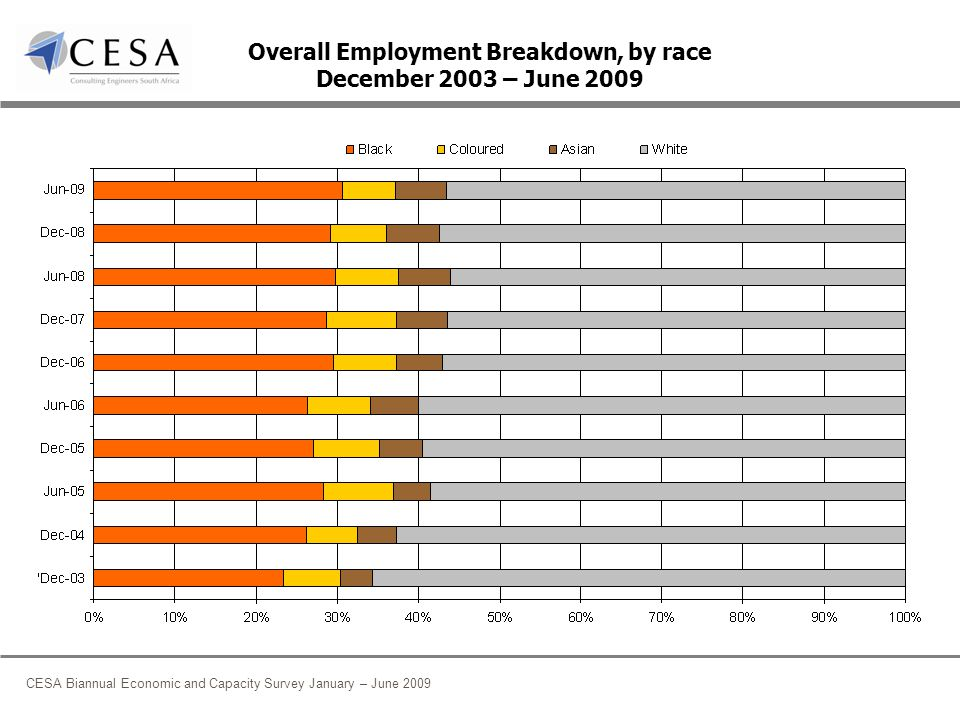 CESA Biannual Economic and Capacity Survey January – June 2009 Overall Employment Breakdown, by race December 2003 – June 2009