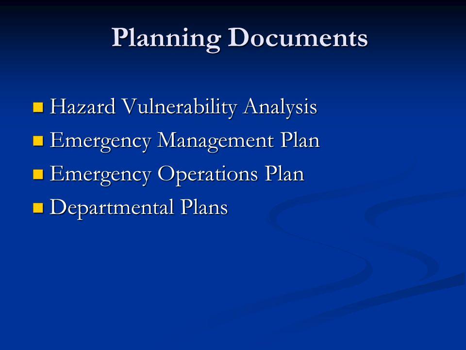 Planning Documents Planning Documents Hazard Vulnerability Analysis Hazard Vulnerability Analysis Emergency Management Plan Emergency Management Plan