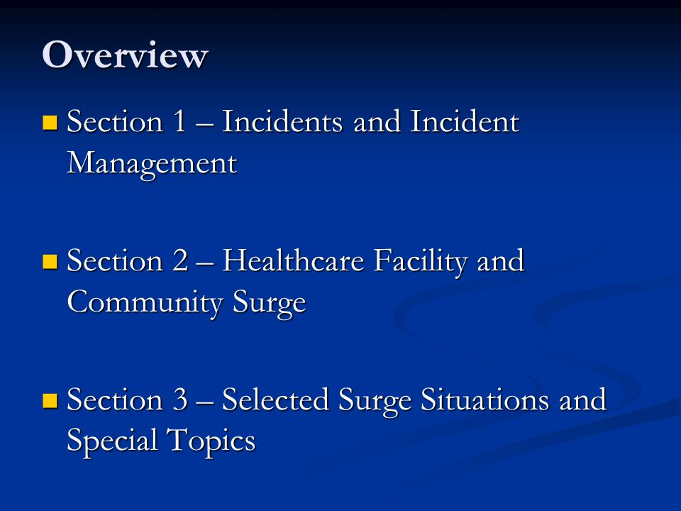 Section 3: Selected Surge Situations and Special Topics