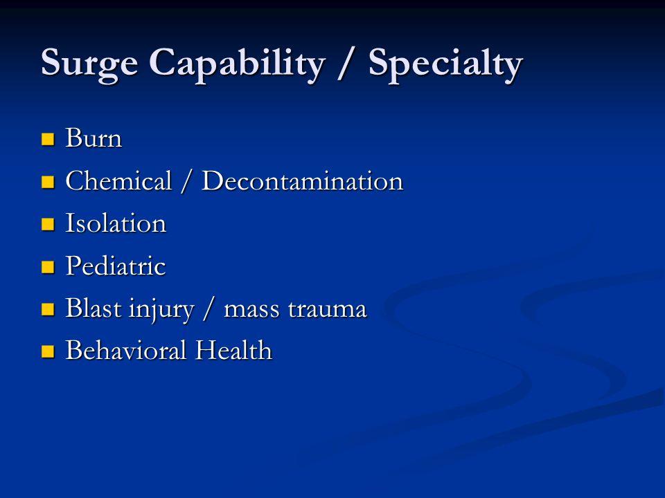 Surge Capability / Specialty Burn Burn Chemical / Decontamination Chemical / Decontamination Isolation Isolation Pediatric Pediatric Blast injury / ma