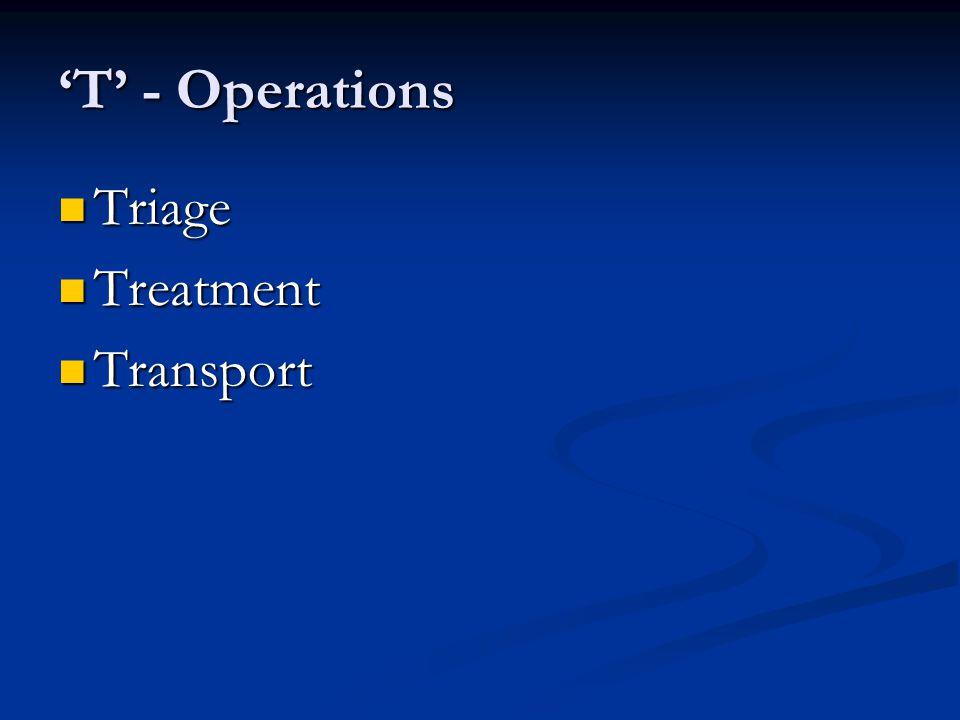 T - Operations Triage Triage Treatment Treatment Transport Transport