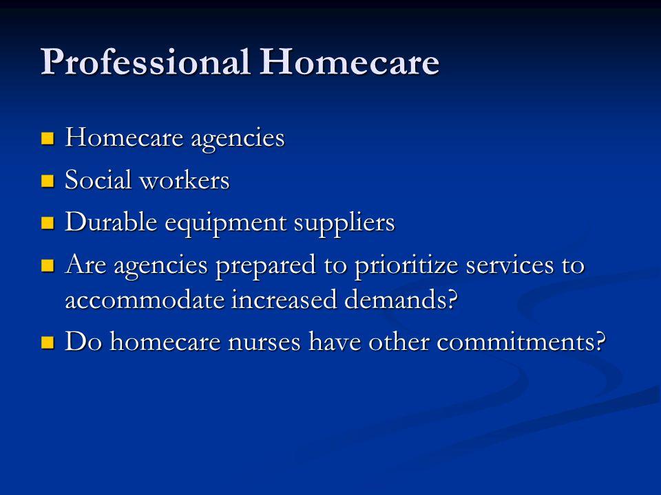 Professional Homecare Homecare agencies Homecare agencies Social workers Social workers Durable equipment suppliers Durable equipment suppliers Are ag