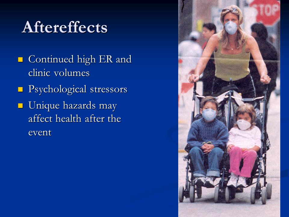 Aftereffects Aftereffects Continued high ER and clinic volumes Continued high ER and clinic volumes Psychological stressors Psychological stressors Un