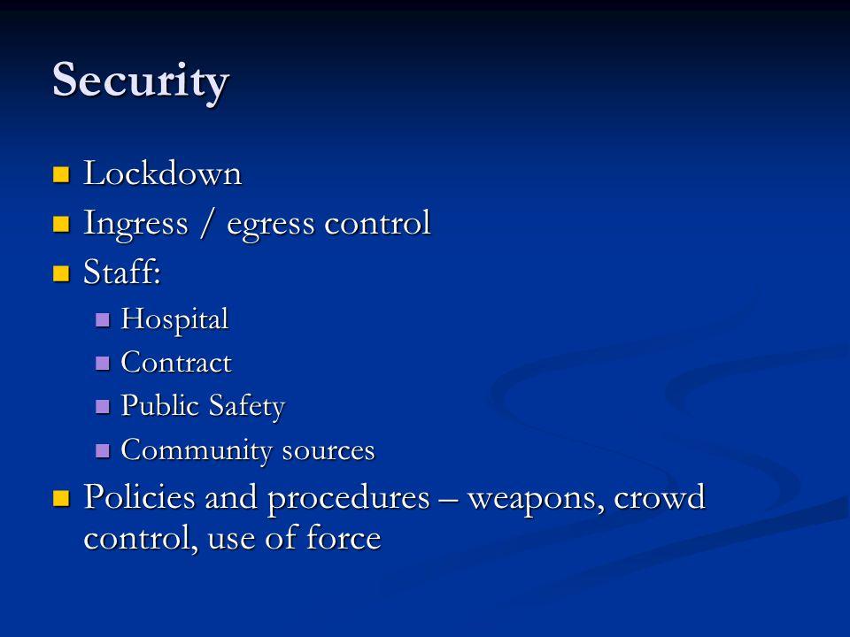 Security Lockdown Lockdown Ingress / egress control Ingress / egress control Staff: Staff: Hospital Hospital Contract Contract Public Safety Public Sa