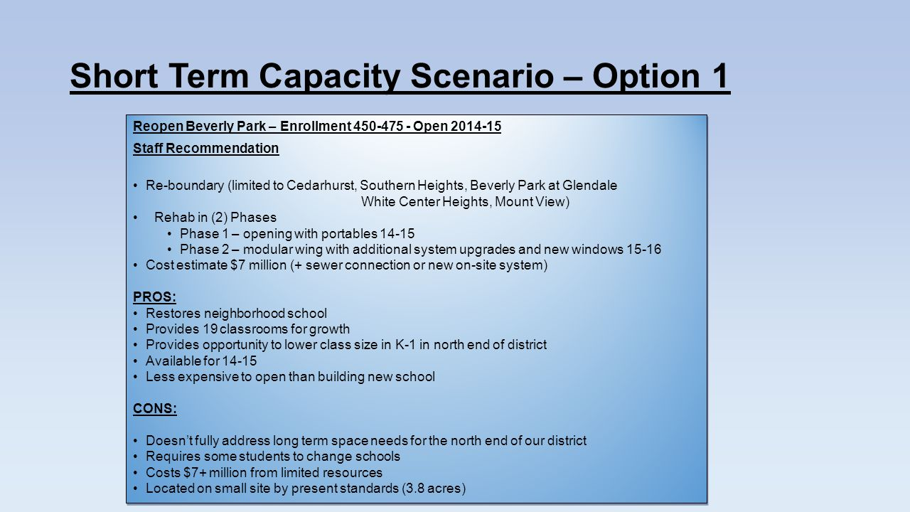 Short Term Capacity Scenario – Option 1 Reopen Beverly Park – Enrollment 450-475 - Open 2014-15 Staff Recommendation Re-boundary (limited to Cedarhurst, Southern Heights, Beverly Park at Glendale White Center Heights, Mount View) Rehab in (2) Phases Phase 1 – opening with portables 14-15 Phase 2 – modular wing with additional system upgrades and new windows 15-16 Cost estimate $7 million (+ sewer connection or new on-site system) PROS: Restores neighborhood school Provides 19 classrooms for growth Provides opportunity to lower class size in K-1 in north end of district Available for 14-15 Less expensive to open than building new school CONS: Doesnt fully address long term space needs for the north end of our district Requires some students to change schools Costs $7+ million from limited resources Located on small site by present standards (3.8 acres) Reopen Beverly Park – Enrollment 450-475 - Open 2014-15 Staff Recommendation Re-boundary (limited to Cedarhurst, Southern Heights, Beverly Park at Glendale White Center Heights, Mount View) Rehab in (2) Phases Phase 1 – opening with portables 14-15 Phase 2 – modular wing with additional system upgrades and new windows 15-16 Cost estimate $7 million (+ sewer connection or new on-site system) PROS: Restores neighborhood school Provides 19 classrooms for growth Provides opportunity to lower class size in K-1 in north end of district Available for 14-15 Less expensive to open than building new school CONS: Doesnt fully address long term space needs for the north end of our district Requires some students to change schools Costs $7+ million from limited resources Located on small site by present standards (3.8 acres)