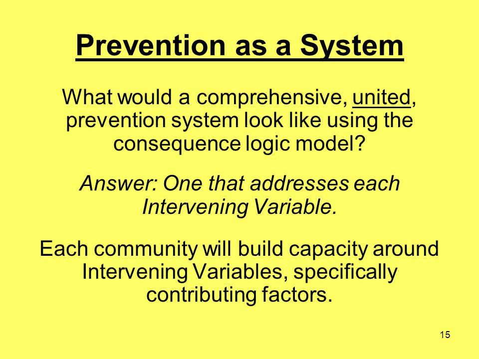 15 Prevention as a System What would a comprehensive, united, prevention system look like using the consequence logic model.