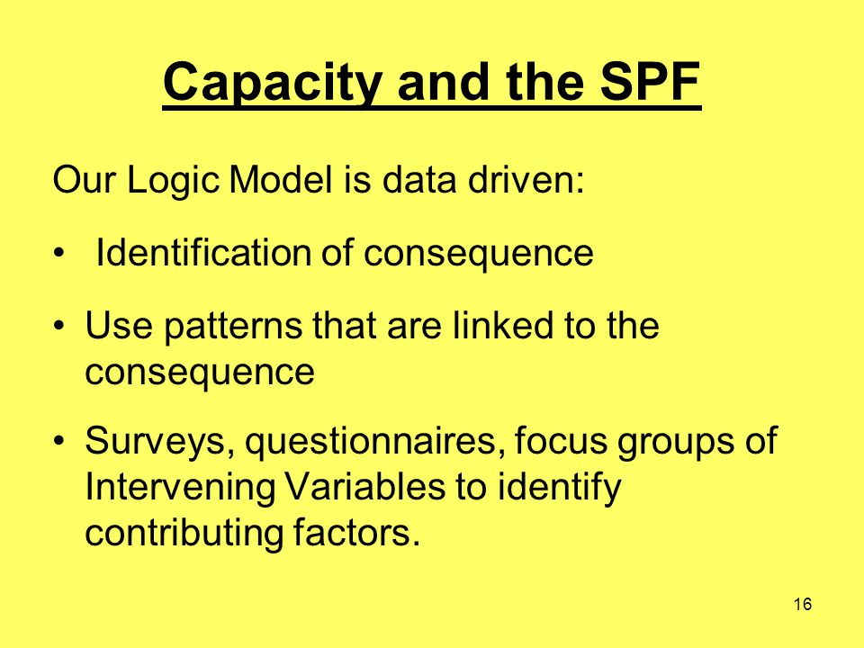 16 Capacity and the SPF Our Logic Model is data driven: Identification of consequence Use patterns that are linked to the consequence Surveys, questionnaires, focus groups of Intervening Variables to identify contributing factors.