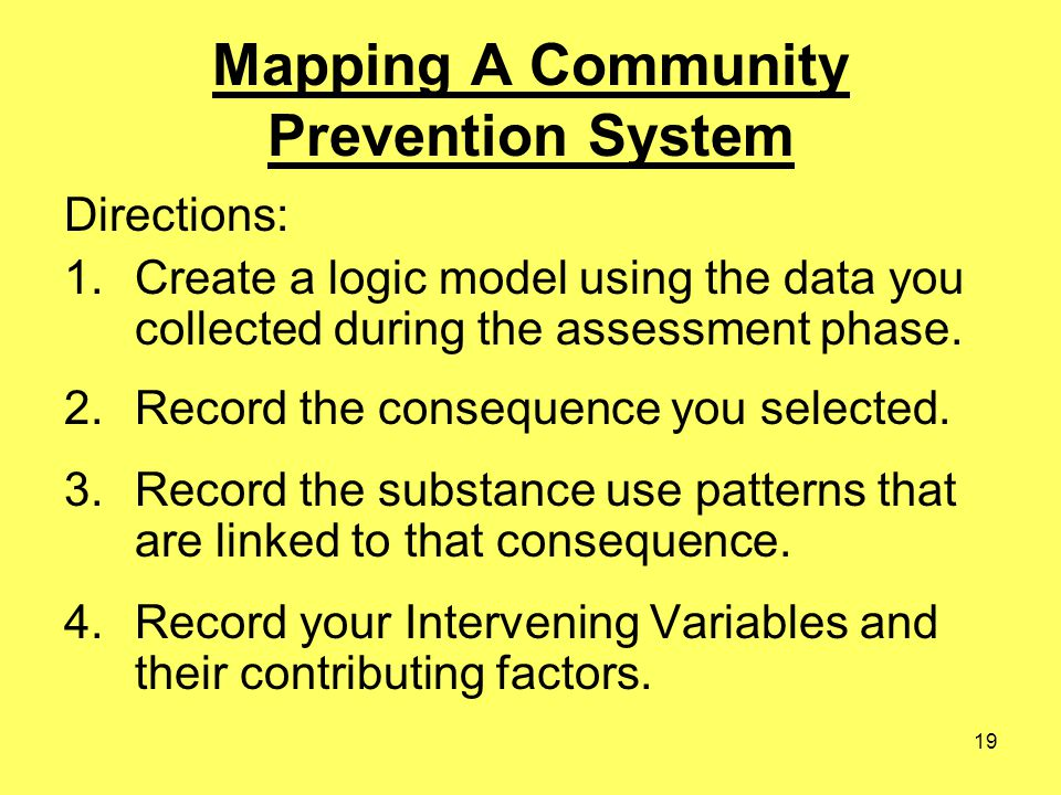 19 Mapping A Community Prevention System Directions: 1.Create a logic model using the data you collected during the assessment phase. 2.Record the con