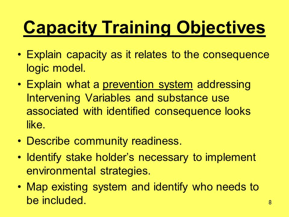8 Capacity Training Objectives Explain capacity as it relates to the consequence logic model. Explain what a prevention system addressing Intervening