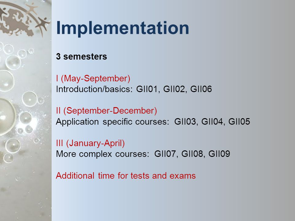 Implementation 3 semesters I (May-September) Introduction/basics: GII01, GII02, GII06 II (September-December) Application specific courses: GII03, GII04, GII05 III (January-April) More complex courses: GII07, GII08, GII09 Additional time for tests and exams