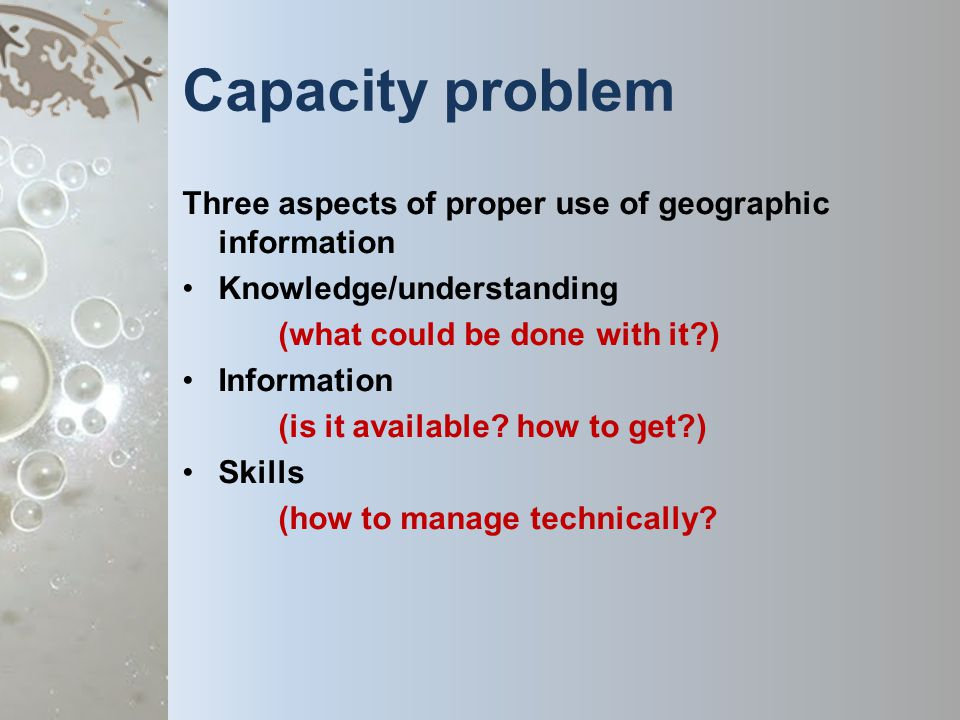 Capacity problem Three aspects of proper use of geographic information Knowledge/understanding (what could be done with it ) Information (is it available.