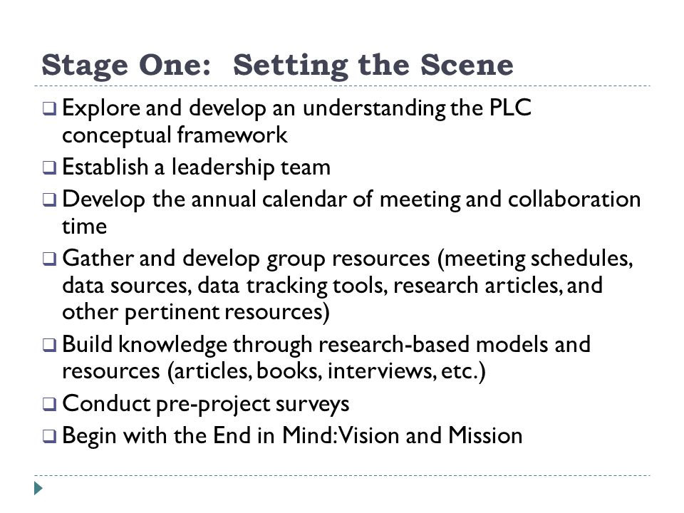 Stage One: Setting the Scene Explore and develop an understanding the PLC conceptual framework Establish a leadership team Develop the annual calendar of meeting and collaboration time Gather and develop group resources (meeting schedules, data sources, data tracking tools, research articles, and other pertinent resources) Build knowledge through research-based models and resources (articles, books, interviews, etc.) Conduct pre-project surveys Begin with the End in Mind: Vision and Mission