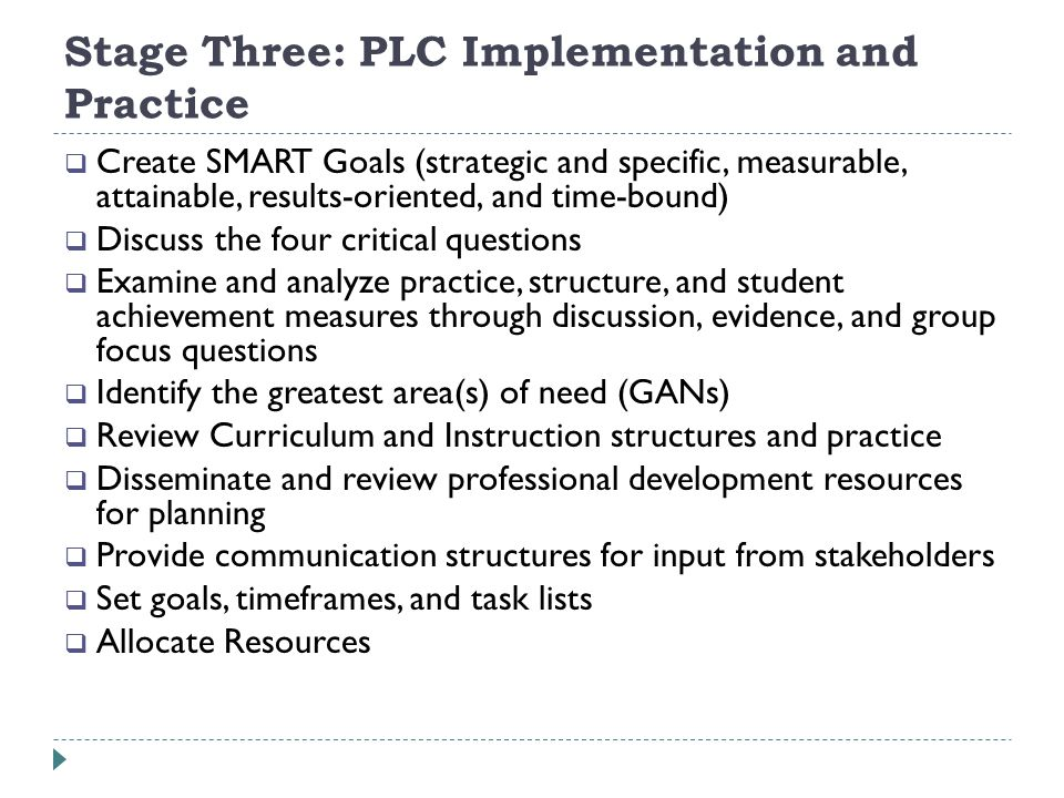 Stage Three: PLC Implementation and Practice Create SMART Goals (strategic and specific, measurable, attainable, results-oriented, and time-bound) Discuss the four critical questions Examine and analyze practice, structure, and student achievement measures through discussion, evidence, and group focus questions Identify the greatest area(s) of need (GANs) Review Curriculum and Instruction structures and practice Disseminate and review professional development resources for planning Provide communication structures for input from stakeholders Set goals, timeframes, and task lists Allocate Resources