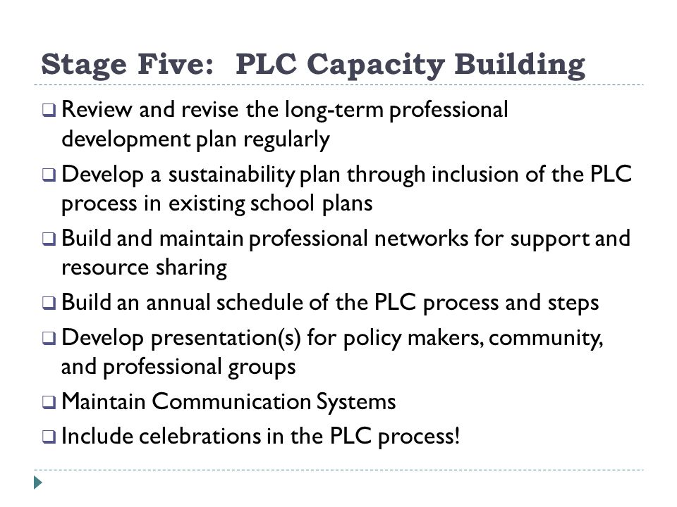 Stage Five: PLC Capacity Building Review and revise the long-term professional development plan regularly Develop a sustainability plan through inclusion of the PLC process in existing school plans Build and maintain professional networks for support and resource sharing Build an annual schedule of the PLC process and steps Develop presentation(s) for policy makers, community, and professional groups Maintain Communication Systems Include celebrations in the PLC process!