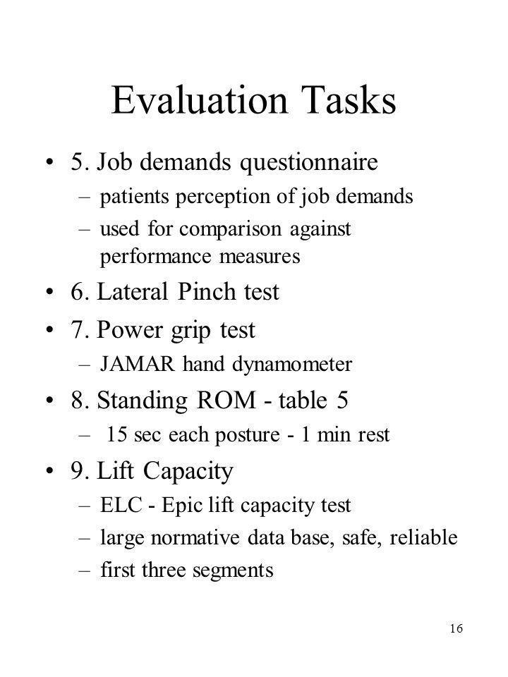 16 Evaluation Tasks 5. Job demands questionnaire –patients perception of job demands –used for comparison against performance measures 6. Lateral Pinc