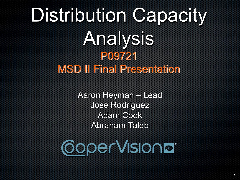 1 Distribution Capacity Analysis P09721 MSD II Final Presentation Distribution Capacity Analysis P09721 MSD II Final Presentation Aaron Heyman – Lead