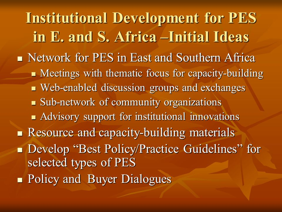 Existing Initiatives for PES Institutional Development in Africa World Bank West Africa project World Bank West Africa project World Bank Capacity-building World Bank Capacity-building BioCarbon Fund support for carbon projects BioCarbon Fund support for carbon projects CARE/IIED/WWF Watershed project network CARE/IIED/WWF Watershed project network Ford Fdn initiative on equity issues in PES Ford Fdn initiative on equity issues in PES UNEP/FAO/ICRAF initiative on CDM UNEP/FAO/ICRAF initiative on CDM GEF/UNDP/Forest Trends/Katoomba Group GEF/UNDP/Forest Trends/Katoomba Group IFAD IFAD +++ +++