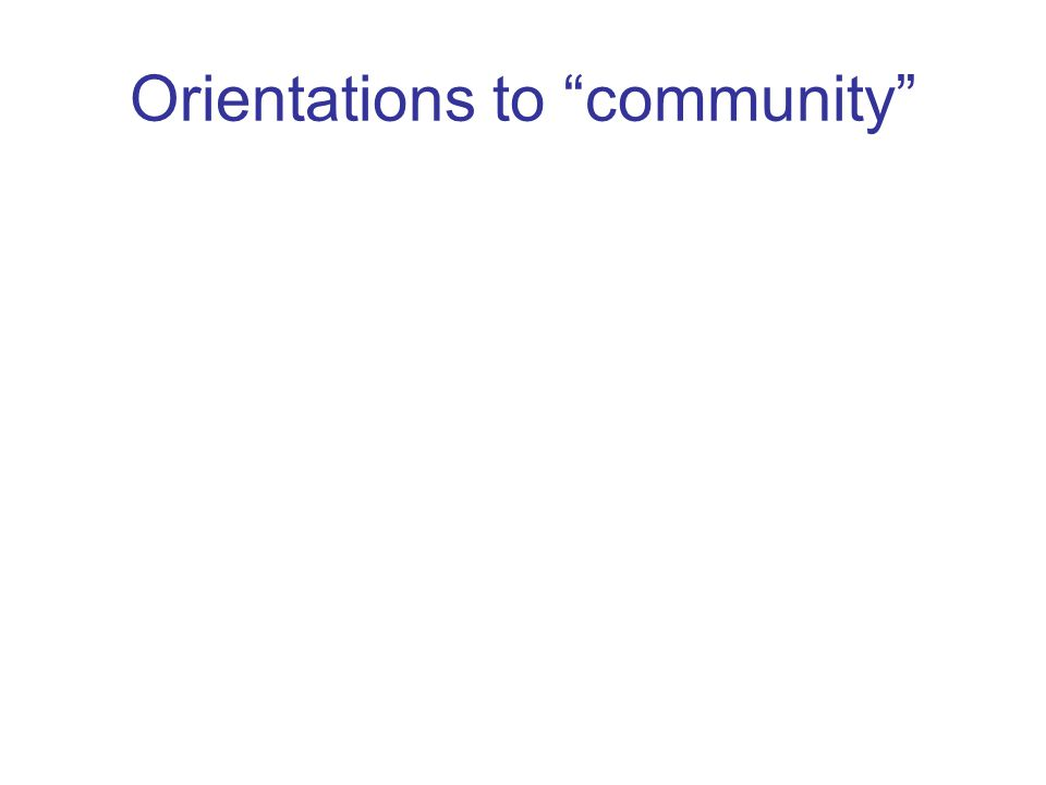 Orientations to community