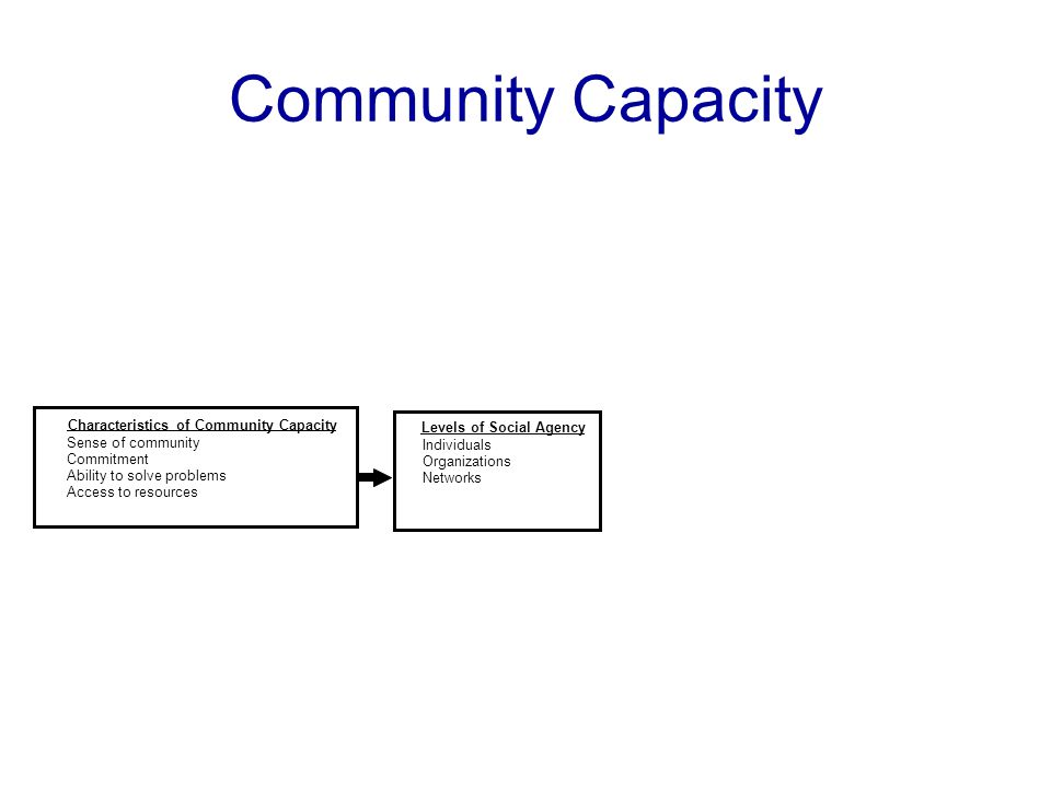 Community Capacity Characteristics of Community Capacity Sense of community Commitment Ability to solve problems Access to resources Levels of Social Agency Individuals Organizations Networks