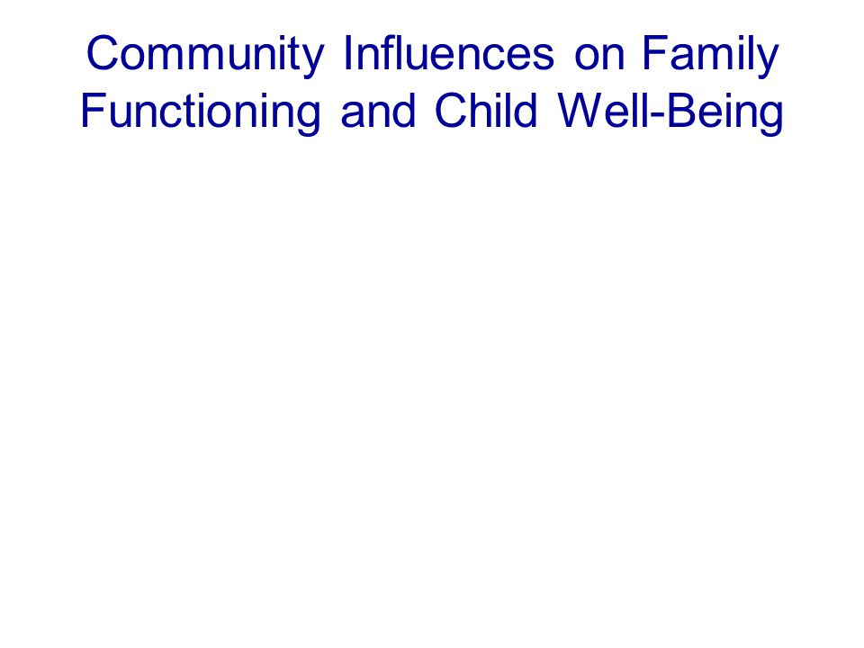 Community Influences on Family Functioning and Child Well-Being