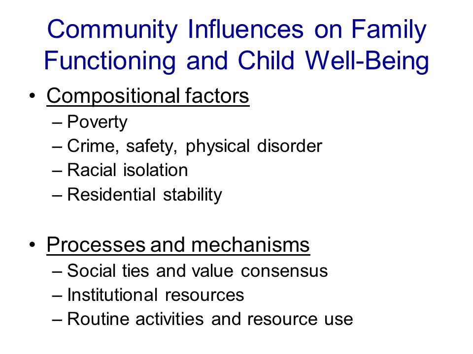 Community Influences on Family Functioning and Child Well-Being Compositional factors –Poverty –Crime, safety, physical disorder –Racial isolation –Residential stability Processes and mechanisms –Social ties and value consensus –Institutional resources –Routine activities and resource use