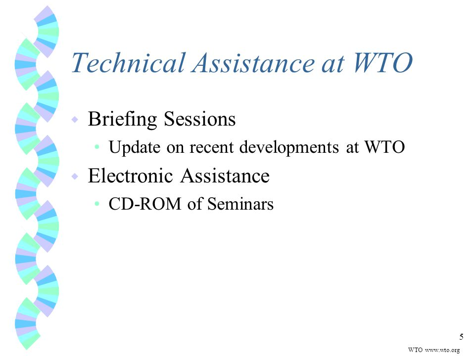 5 Technical Assistance at WTO w Briefing Sessions Update on recent developments at WTO w Electronic Assistance CD-ROM of Seminars WTO www.wto.org