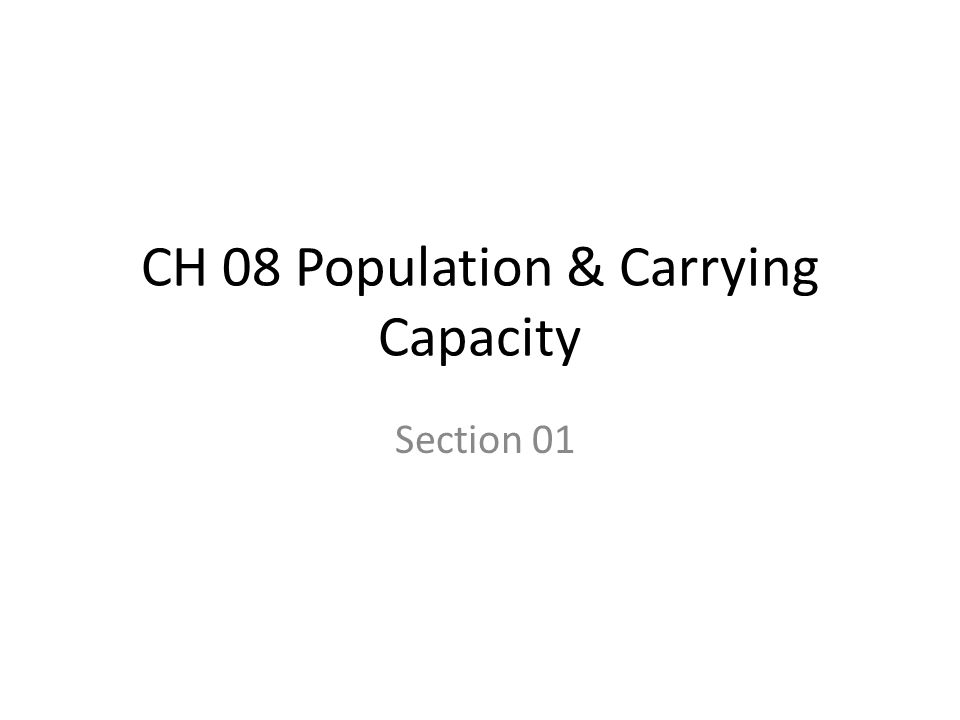CH 08 Population & Carrying Capacity Section 01