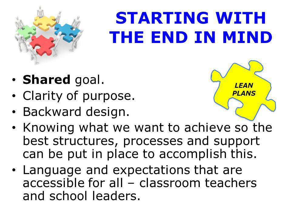 STARTING WITH THE END IN MIND Shared goal. Clarity of purpose.