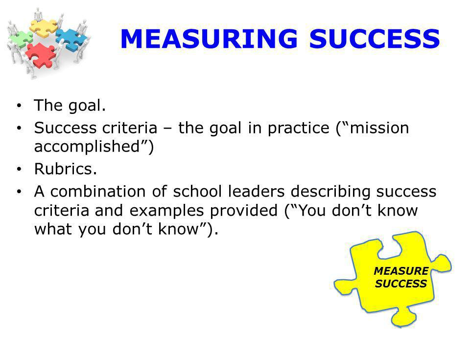 MEASURING SUCCESS The goal. Success criteria – the goal in practice (mission accomplished) Rubrics.