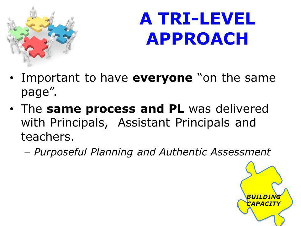 A TRI-LEVEL APPROACH 2010 Purposeful Planning and Authentic Assessment Three full day PL sessions with APs.