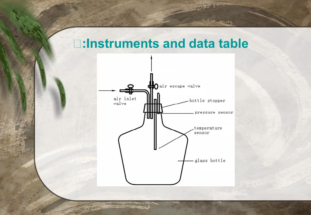 :Instruments and data table