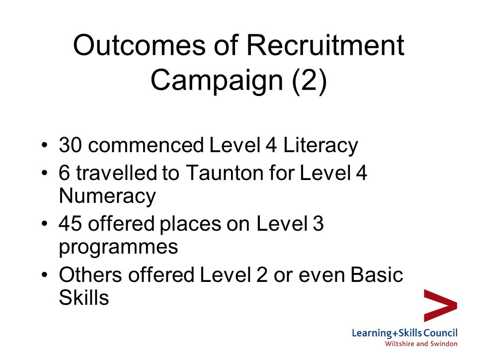 Outcomes of Recruitment Campaign (2) 30 commenced Level 4 Literacy 6 travelled to Taunton for Level 4 Numeracy 45 offered places on Level 3 programmes Others offered Level 2 or even Basic Skills