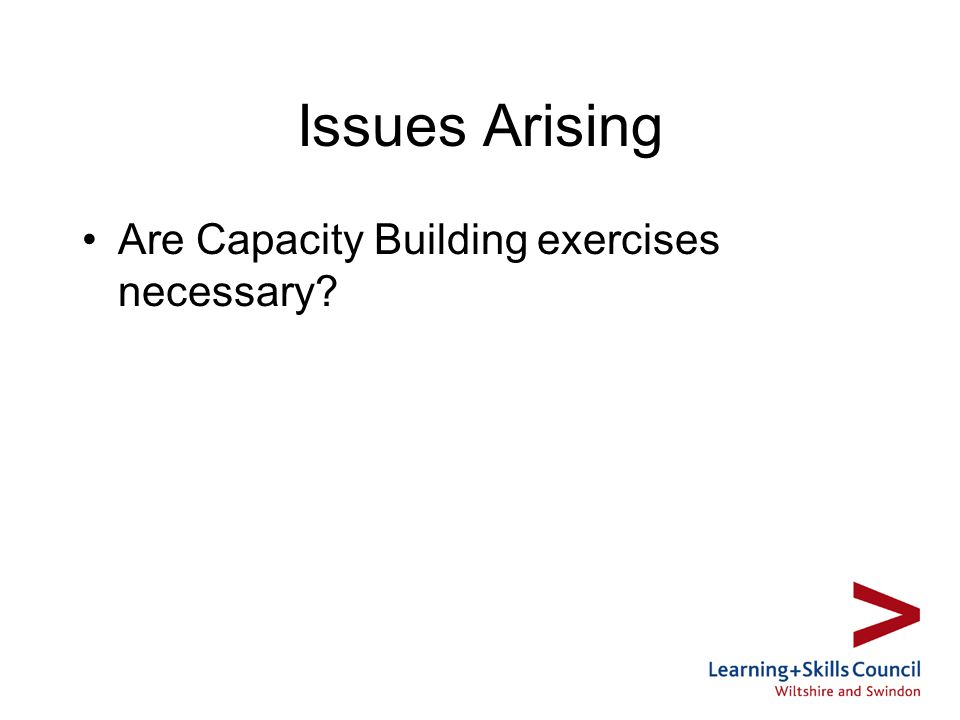 Issues Arising Are Capacity Building exercises necessary