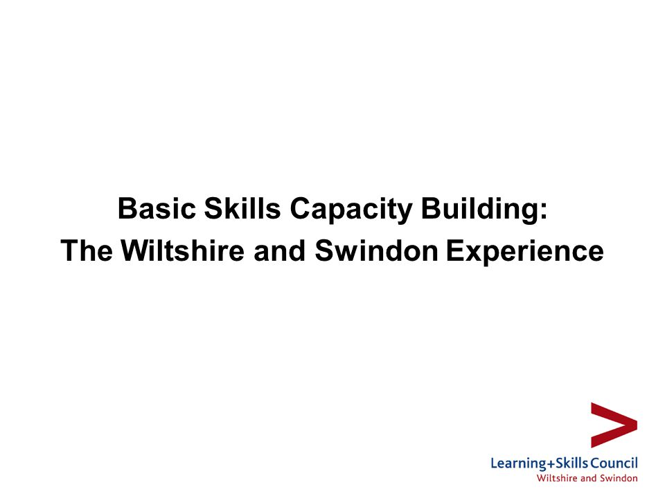 Basic Skills Capacity Building: The Wiltshire and Swindon Experience