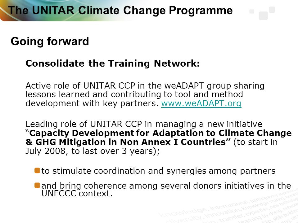 Consolidate the Training Network: Active role of UNITAR CCP in the weADAPT group sharing lessons learned and contributing to tool and method development with key partners.