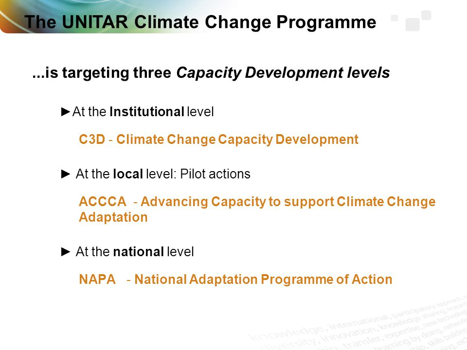 ...is targeting three Capacity Development levels At the Institutional level C3D - Climate Change Capacity Development At the local level: Pilot actions ACCCA - Advancing Capacity to support Climate Change Adaptation At the national level NAPA - National Adaptation Programme of Action The UNITAR Climate Change Programme
