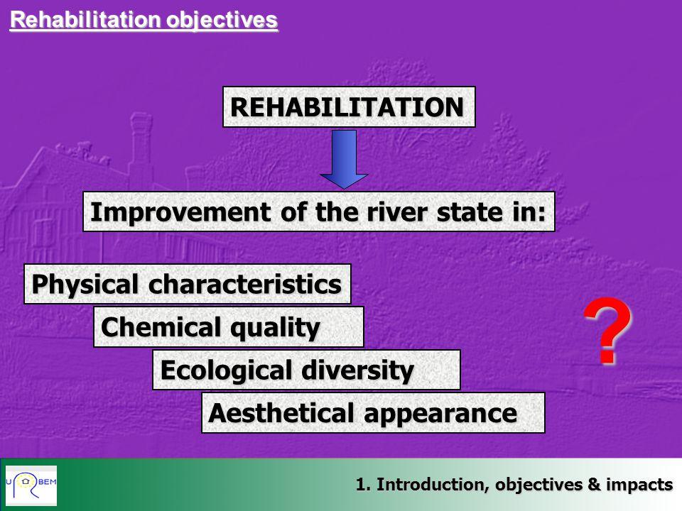 1. Introduction, objectives & impacts Rehabilitation objectives REHABILITATION Improvement of the river statein: Improvement of the river state in: Ph