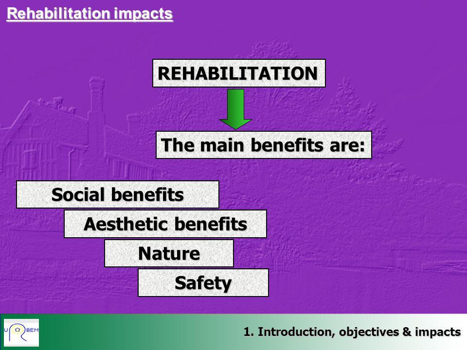 1. Introduction, objectives & impacts Rehabilitation impacts REHABILITATION The main benefits are: Social benefits Aesthetic benefits Nature Safety