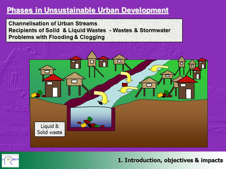 Liquid & Solid waste Channelisation of Urban Streams Recipients of Solid & Liquid Wastes - Wastes & Stormwater Problems with Flooding & Clogging Phases in Unsustainable Urban Development 1.