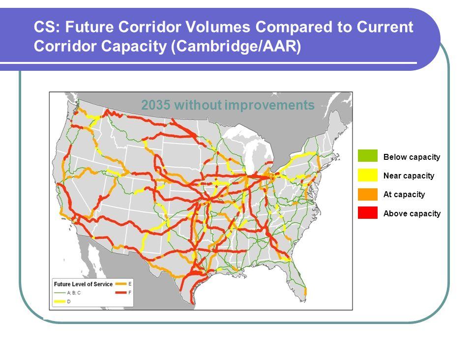 CS: Future Corridor Volumes Compared to Current Corridor Capacity (Cambridge/AAR) 2035 without improvements Below capacity Near capacity At capacity A