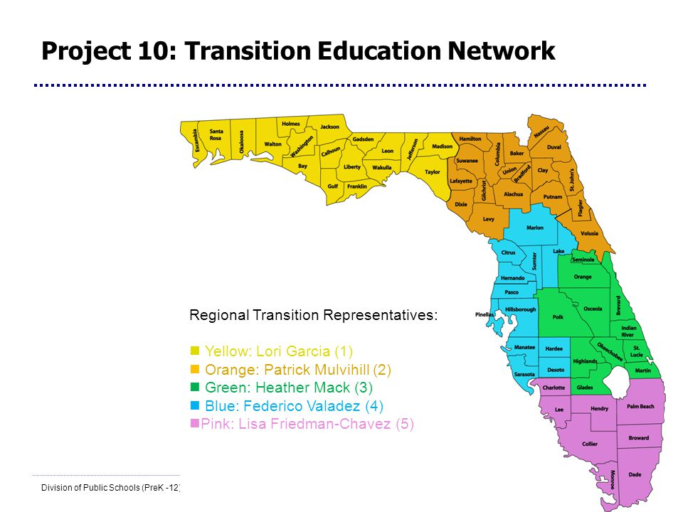 14 Division of Public Schools (PreK -12) Florida Department of Education Project 10: Transition Education Network Regional Transition Representatives: