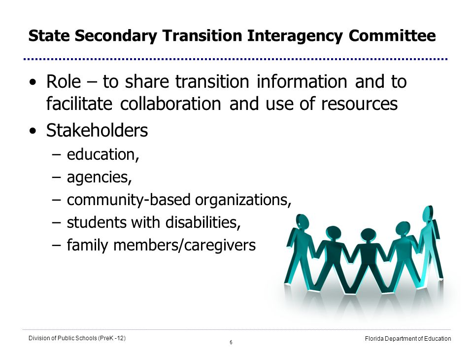 6 Division of Public Schools (PreK -12) Florida Department of Education State Secondary Transition Interagency Committee Role – to share transition in
