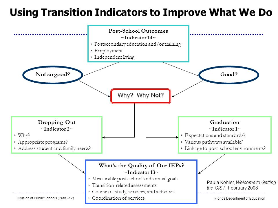 8 Division of Public Schools (PreK -12) Florida Department of Education Using Transition Indicators to Improve What We Do Post-School Outcomes ~Indica