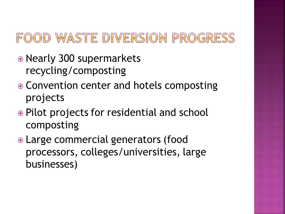 Nearly 300 supermarkets recycling/composting Convention center and hotels composting projects Pilot projects for residential and school composting Lar