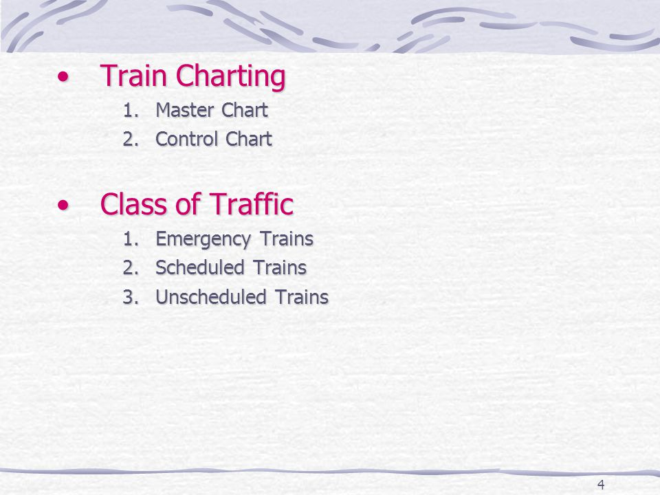 4 Train ChartingTrain Charting 1.Master Chart 2.Control Chart Class of TrafficClass of Traffic 1.Emergency Trains 2.Scheduled Trains 3.Unscheduled Trains