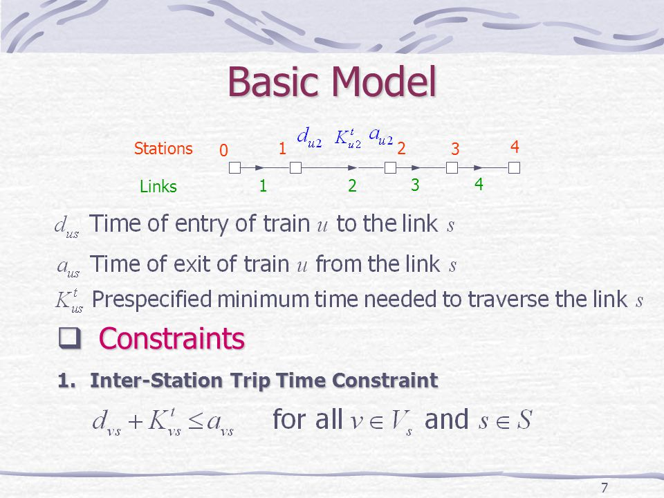 7 Basic Model 1 1 0 2 3 4 2 3 4 Links Stations Constraints Constraints 1.Inter-Station Trip Time Constraint